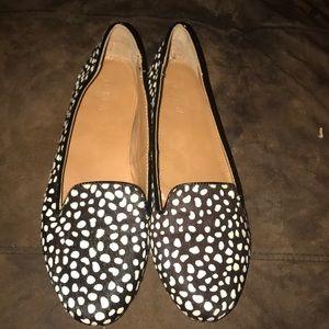 J Crew Animal Print Calf Hair Flats Shoes Size 10